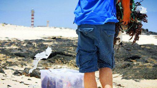 Plastikmüll am Strand einsammeln